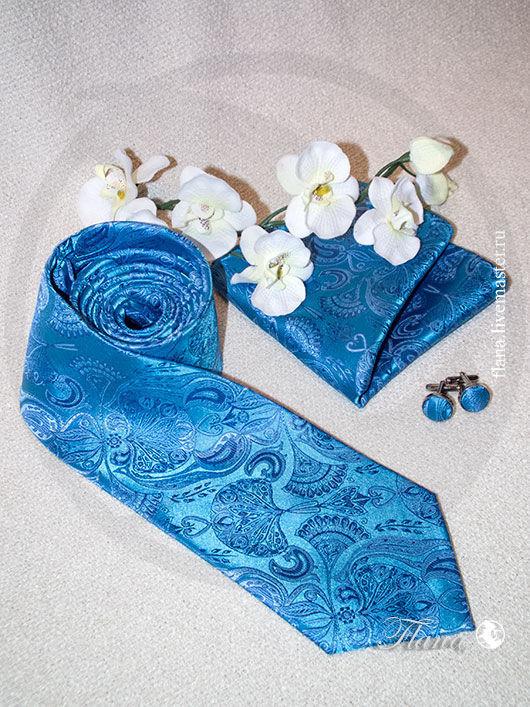Галстук (шелковый комплект) - галстук, запонки, платок. Индивидуальный пошив, Флана