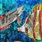 """Картины и панно ручной работы. Ярмарка Мастеров - ручная работа Бутылка-мини картина """"Морские обитатели"""". Handmade."""