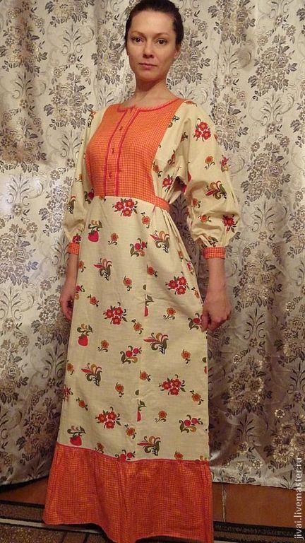 Платья ручной работы. Ярмарка Мастеров - ручная работа. Купить платье ЯГОДКА. Handmade. Цветочный, славянские мотивы, тесьма