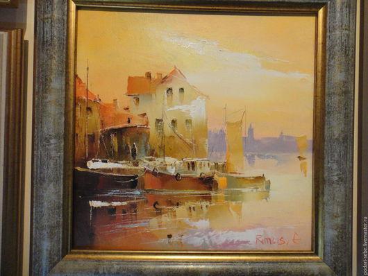 Город ручной работы. Ярмарка Мастеров - ручная работа. Купить Порт в Клайпеде. Handmade. Бежевый, картина, море, теплый