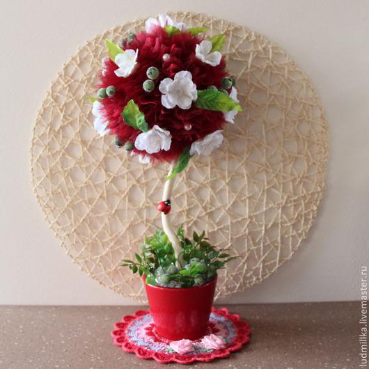 """Топиарии ручной работы. Ярмарка Мастеров - ручная работа. Купить Топиарий """"Красный"""". Handmade. Топиарий, бордо, шар пластик"""