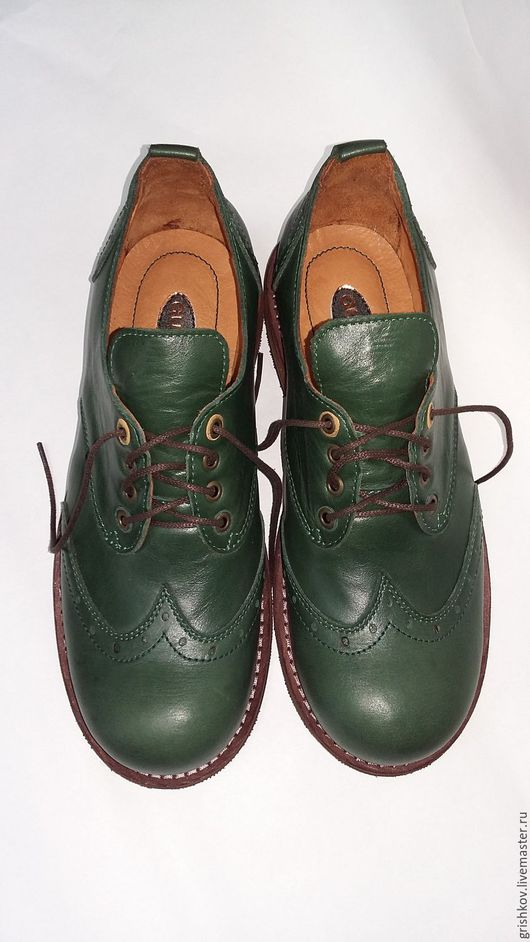 """Обувь ручной работы. Ярмарка Мастеров - ручная работа. Купить Полуботинки мужские """"Forest"""". Handmade. Зеленый, натуральная кожа"""