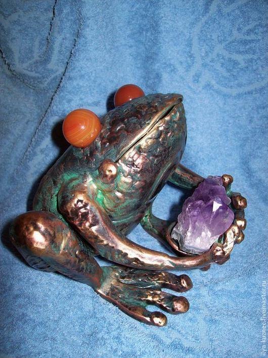 Элементы интерьера ручной работы. Ярмарка Мастеров - ручная работа. Купить жабка с аметистом. Handmade. Ковка, сувениры, подарок