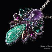 Украшения handmade. Livemaster - original item Purple green brooch pendant beautiful birds of Paradise. purple. green. Handmade.