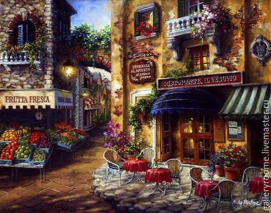 Другие виды рукоделия ручной работы. Ярмарка Мастеров - ручная работа. Купить Картина по номерам Кафе в Италии Худ. Ники Боэм. Handmade.