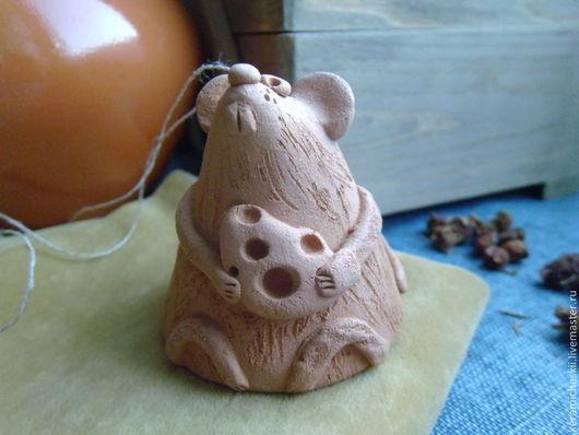 Фигурка мышь, статуэтка мышь, мышь игрушка, мышь из глины, мышь из керамики, колокольчик из керамики.