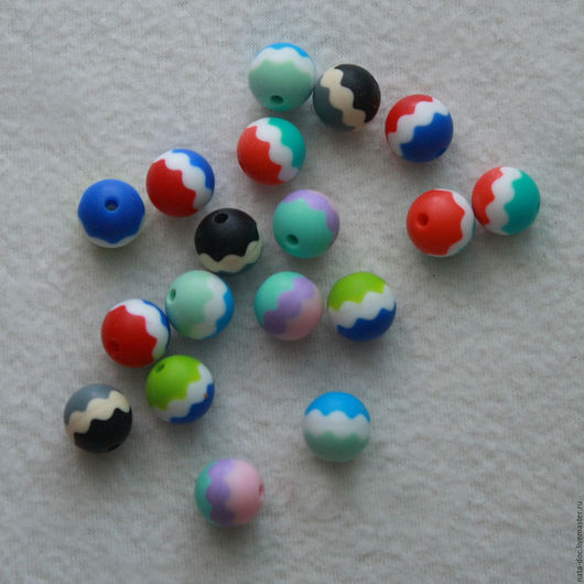 Для украшений ручной работы. Ярмарка Мастеров - ручная работа. Купить Силиконовые бусины 16 мм трехцветные. Handmade.