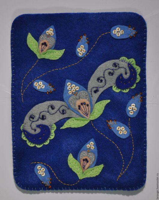 """Для телефонов ручной работы. Ярмарка Мастеров - ручная работа. Купить Чехол для читалки: """"Весеннее настроение"""". Handmade. Синий"""