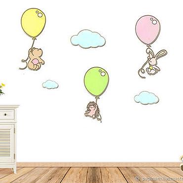 Для дома и интерьера ручной работы. Ярмарка Мастеров - ручная работа Настенный декор детской комнаты (Воздушные шары). Handmade.