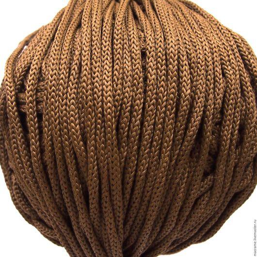 Для украшений ручной работы. Ярмарка Мастеров - ручная работа. Купить Шнур вязаный круглый полиэфирный 5 мм коричневый. Handmade.