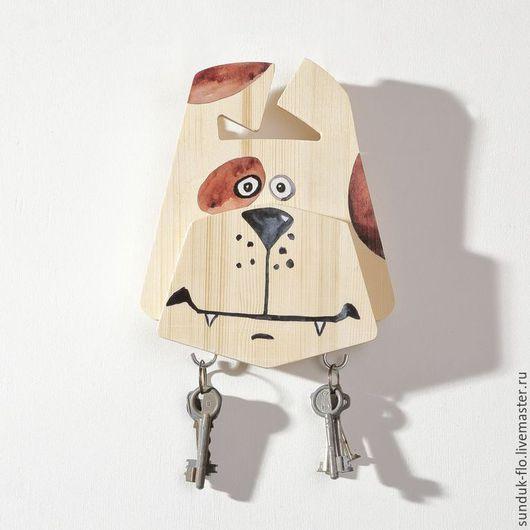 """Прихожая ручной работы. Ярмарка Мастеров - ручная работа. Купить Настенная ключница """"Барбоскин"""". Handmade. Бежевый, ключница собака"""