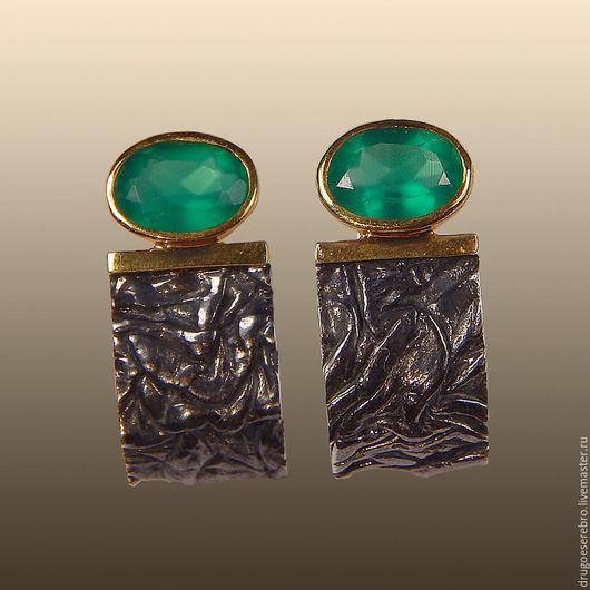 Серьги с ониксом, серьги серебро, серебро 925, ювелирные украшения из серебра, серебро 925 пробы, авторские украшения, другое серебро, серьги с зелёным камнем