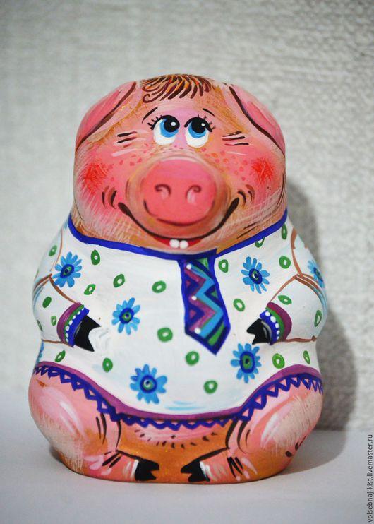 """Колокольчики ручной работы. Ярмарка Мастеров - ручная работа. Купить Колокольчик """"Свинья"""". Handmade. Комбинированный, рубаха в русском стиле"""