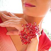 Украшения ручной работы. Ярмарка Мастеров - ручная работа Ярко-красный воздушный браслет в готическом стиле. Handmade.