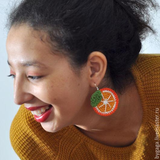 """Серьги ручной работы. Ярмарка Мастеров - ручная работа. Купить Вязаные серьги """"Апельсин"""". Handmade. Оранжевый, вязанная бижутерия"""