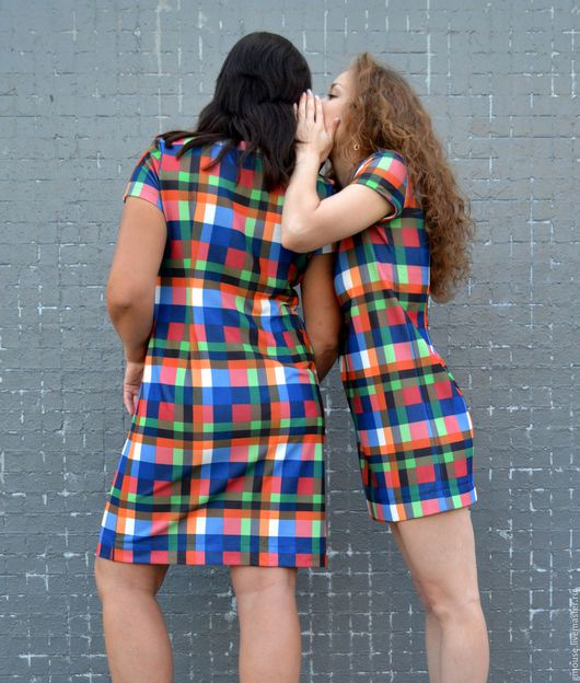 Платья ручной работы. Ярмарка Мастеров - ручная работа. Купить Платье из плотного трикотажа КЛЕТКА. Handmade. Комбинированный, джерси