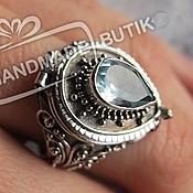Украшения handmade. Livemaster - original item Ring Secret with peridot, blue. Topaz and moon Kam silver. Handmade.