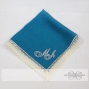 Аксессуары handmade. Livemaster - original item Handkerchief women`s turquoise lace monogram. Handmade.