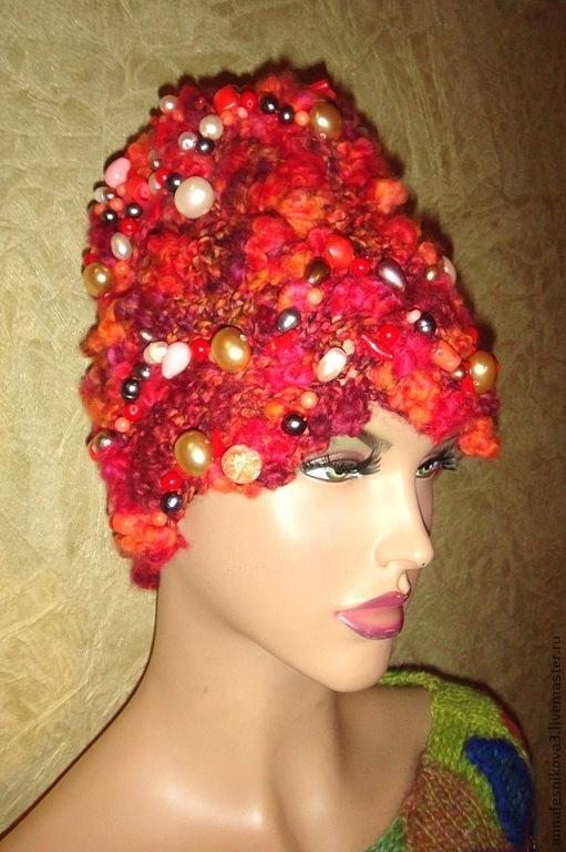 """Шапки ручной работы. Ярмарка Мастеров - ручная работа. Купить Шапка """"Коралловый компот"""". Handmade. Коралловый, шапка женская, шапки"""