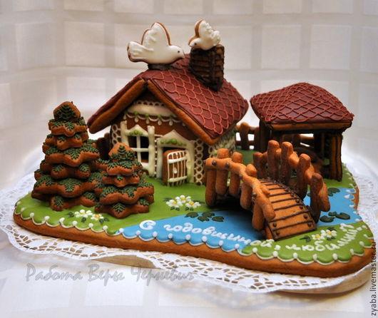 Вкусный и ароматный пряничный загородный домик с речкой и мостиком. ПРЯНИЧНЫЙ ТЕРЕМ, работа Веры Черневич.