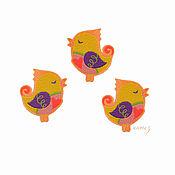 Материалы для творчества handmade. Livemaster - original item Embroidery applique Bird singing about love patch for clothing. Handmade.