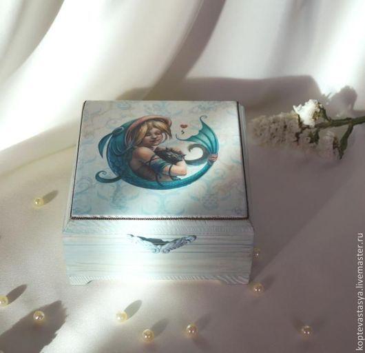 Персональные подарки ручной работы. Ярмарка Мастеров - ручная работа. Купить Знаки зодиака. Рыбы.. Handmade. Мятный, шкатулка декупаж