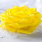 Свадебный салон ручной работы. Ярмарка Мастеров - ручная работа 793 Желтая свадьба, Аксессуары для волос, Яркая роза заколка для волос. Handmade.
