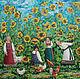 Картины цветов ручной работы. Ярмарка Мастеров - ручная работа. Купить Заручинские семечки. Handmade. Желтый, подсолнухи, цветы, петух