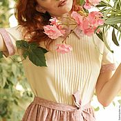 "Одежда handmade. Livemaster - original item ""Garden rose"". Cotton summer dress, pink/ivory, pleated skirt, collar. Handmade."