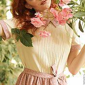 "Одежда handmade. Livemaster - original item ""Garden rose"". Cotton summer dress, pink/ivory, pleated skirt, collar. Handmade."