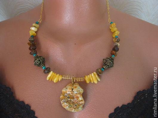 """Колье, бусы ручной работы. Ярмарка Мастеров - ручная работа. Купить Янтарное ожерелье """"Мелодия Солнца"""" - природный янтарь.. Handmade."""