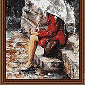 """Материалы для творчества ручной работы. Ярмарка Мастеров - ручная работа Набор для  вышивки бисером """"Под зонтом"""" (ж). Handmade."""