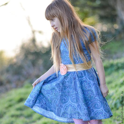 Одежда для девочек, ручной работы. Ярмарка Мастеров - ручная работа. Купить Платье для девочки синее Хлопок. Handmade. Цветочный