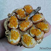 Куклы и игрушки handmade. Livemaster - original item Sandwiches with caviar for a Dollhouse miniature Food for dolls. Handmade.