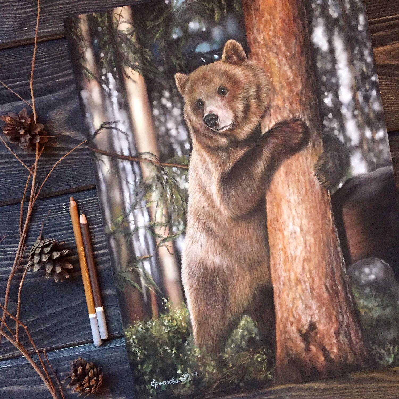Картина для декупажа медведь на дереве