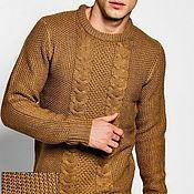 Одежда ручной работы. Ярмарка Мастеров - ручная работа Мужской свитер коричневый мужской свитер мужской свитер мужской свитер. Handmade.