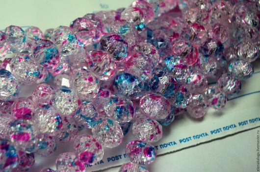 """Для украшений ручной работы. Ярмарка Мастеров - ручная работа. Купить Кварц белый """"Карнавал"""" розово-голубой.. Handmade."""