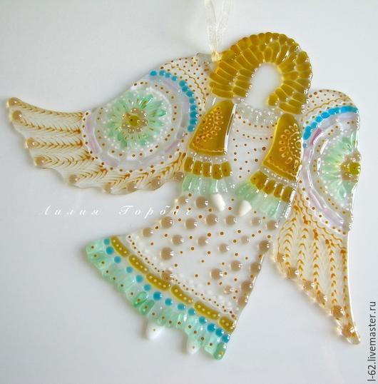 Иконы ручной работы. Ярмарка Мастеров - ручная работа. Купить подвеска из стекла, фьюзинг  Ангел хранящий. Handmade. Разноцветный, ангелочек