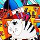 """Животные ручной работы. Ярмарка Мастеров - ручная работа. Купить """"Коты на Питерских крышах"""" Витражная роспись стекла. Handmade. Кот"""