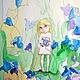 Картины цветов ручной работы. Заказать Феечка и Колокольчики Акварель 13х18см. Картины и куклы Ирина Капустина. Ярмарка Мастеров. Разноцветный