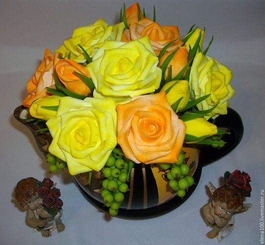 Цветы ручной работы. Ярмарка Мастеров - ручная работа. Купить Розы в чайничке. Handmade. Разноцветный, розы из полимерной глины, композиция