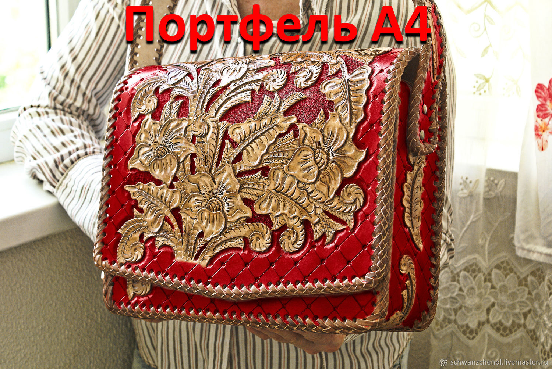 Women's leather bag 'Portfolio A4' - color, Brief case, Krasnodar,  Фото №1