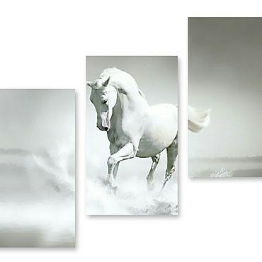 """Картины и панно ручной работы. Ярмарка Мастеров - ручная работа Модульная картина """"Белая лошадь"""". Handmade."""