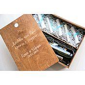 Бутылки ручной работы. Ярмарка Мастеров - ручная работа Деревянная коробка для вина с отделением для записок с пожеланиями. Handmade.
