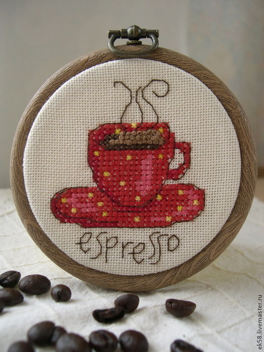 """Натюрморт ручной работы. Ярмарка Мастеров - ручная работа. Купить Вышитая миниатюра  """"Чашечка  Еspresso"""". Handmade. Чашка, чашка для кофе"""