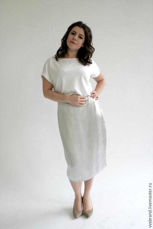 Юбки ручной работы. Ярмарка Мастеров - ручная работа. Купить Серебряная шёлковая юбка. Handmade. Серебряный, зауженная, шёлк