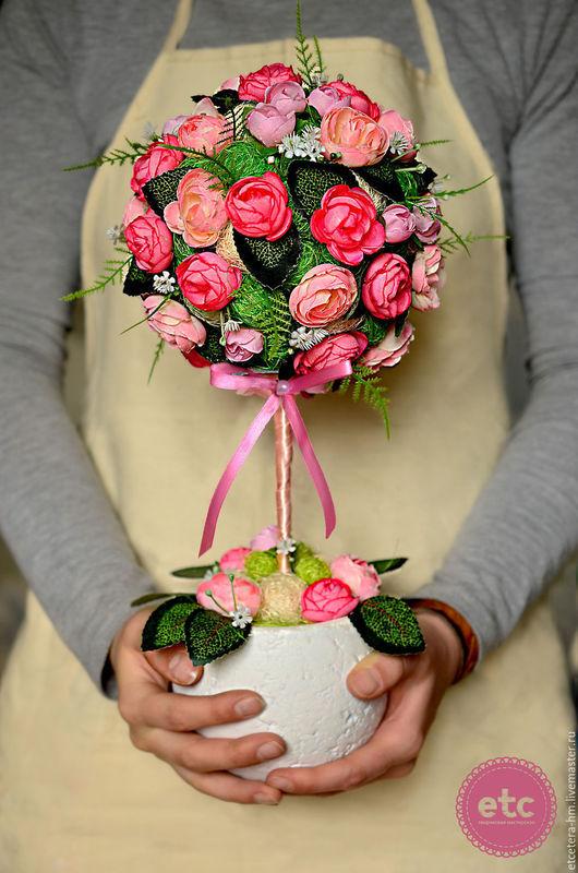 """Топиарии ручной работы. Ярмарка Мастеров - ручная работа. Купить """"Розовый куст"""". Топиарий. Дерево счастья.. Handmade. Розовый"""