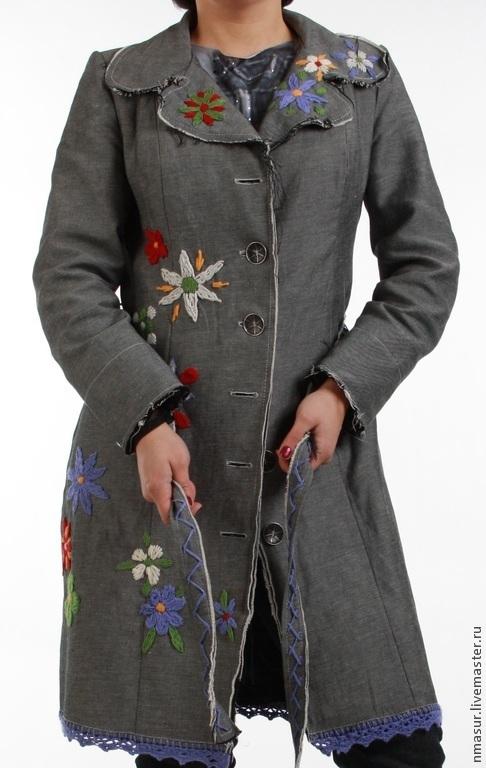 Верхняя одежда ручной работы. Ярмарка Мастеров - ручная работа. Купить Серый джинсовый бохо- плащ с вышивкой. Handmade. Серый
