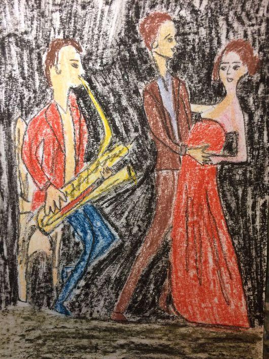 Люди, ручной работы. Ярмарка Мастеров - ручная работа. Купить Джаз. Handmade. Мужчина и женщина, женщина, танец, атмосфера, бумага