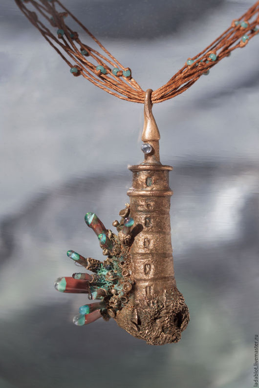Кулоны, подвески ручной работы. Ярмарка Мастеров - ручная работа. Купить Кулон Маяк в морских брызгах. Handmade. Metalclay